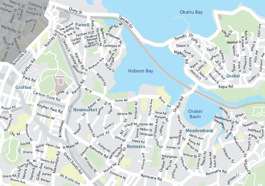 Map showing proposed and already constructed cycle networks in Parnell, Newmarket and Remuera.