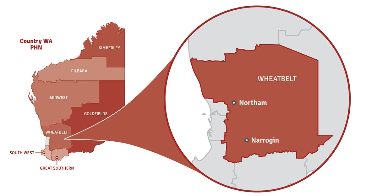 Map of Western Australia showing location of Wheatbelt region in a pop out circle.