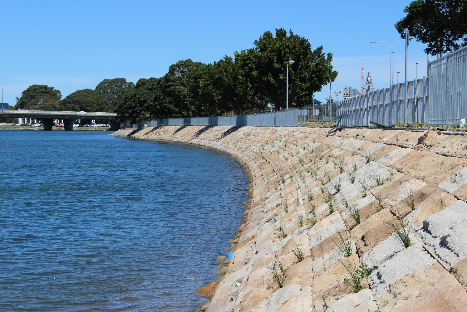 Sandstone blocks to replace concrete banks in some sections. (Photo Alexandra Canal)