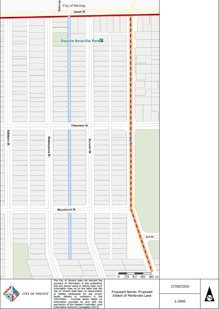 Pembroke Lane Extent of Naming