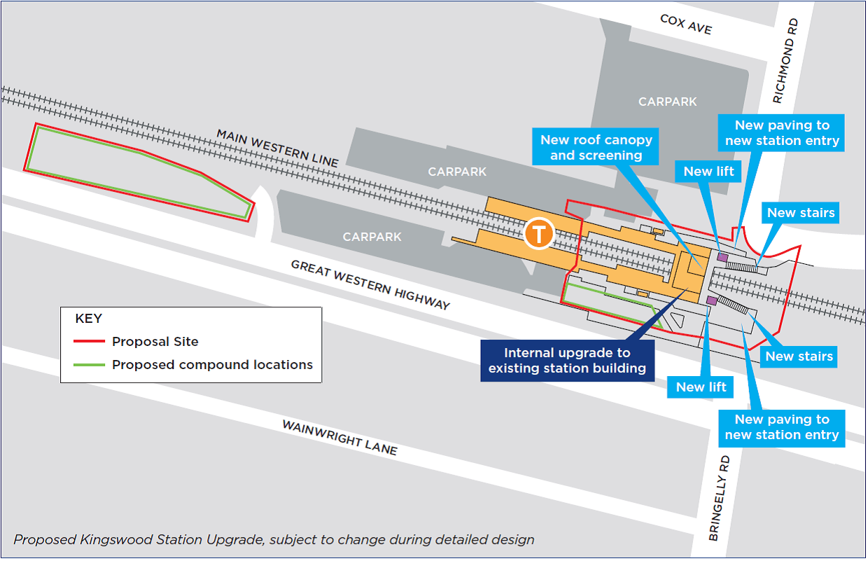 Proposed Kingswood Station Upgrade, subject to change during detailed design