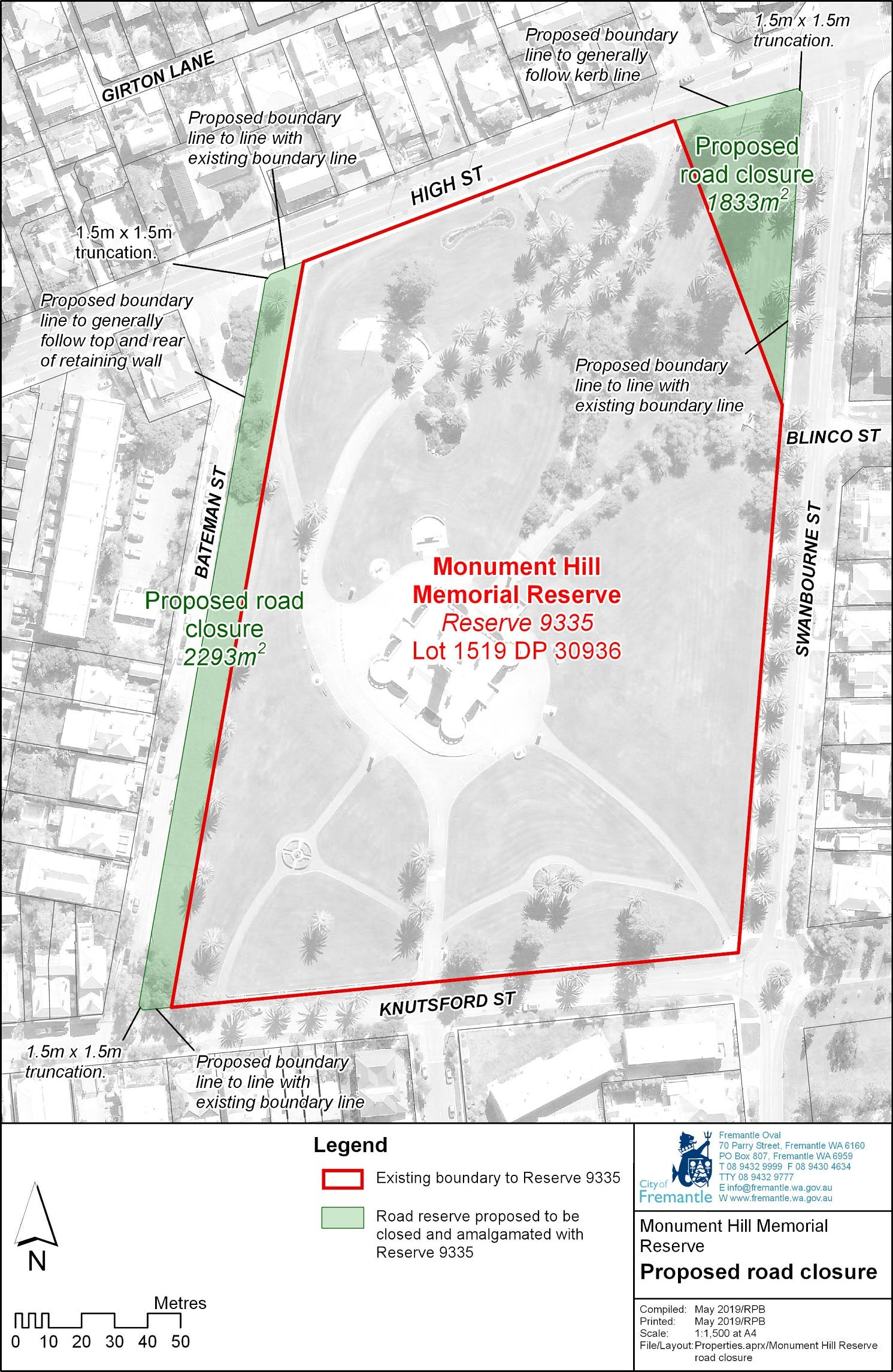 Monument Hill Reserve  Proposed Road Closures