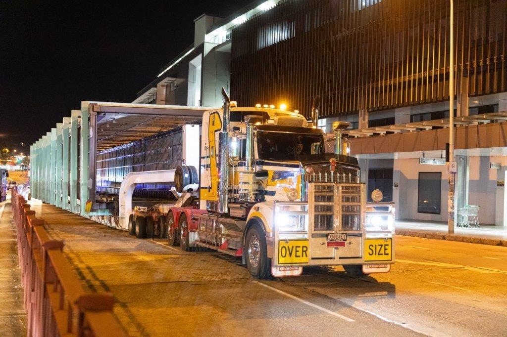 Arrival of the pedestrian bridge in Brookvale