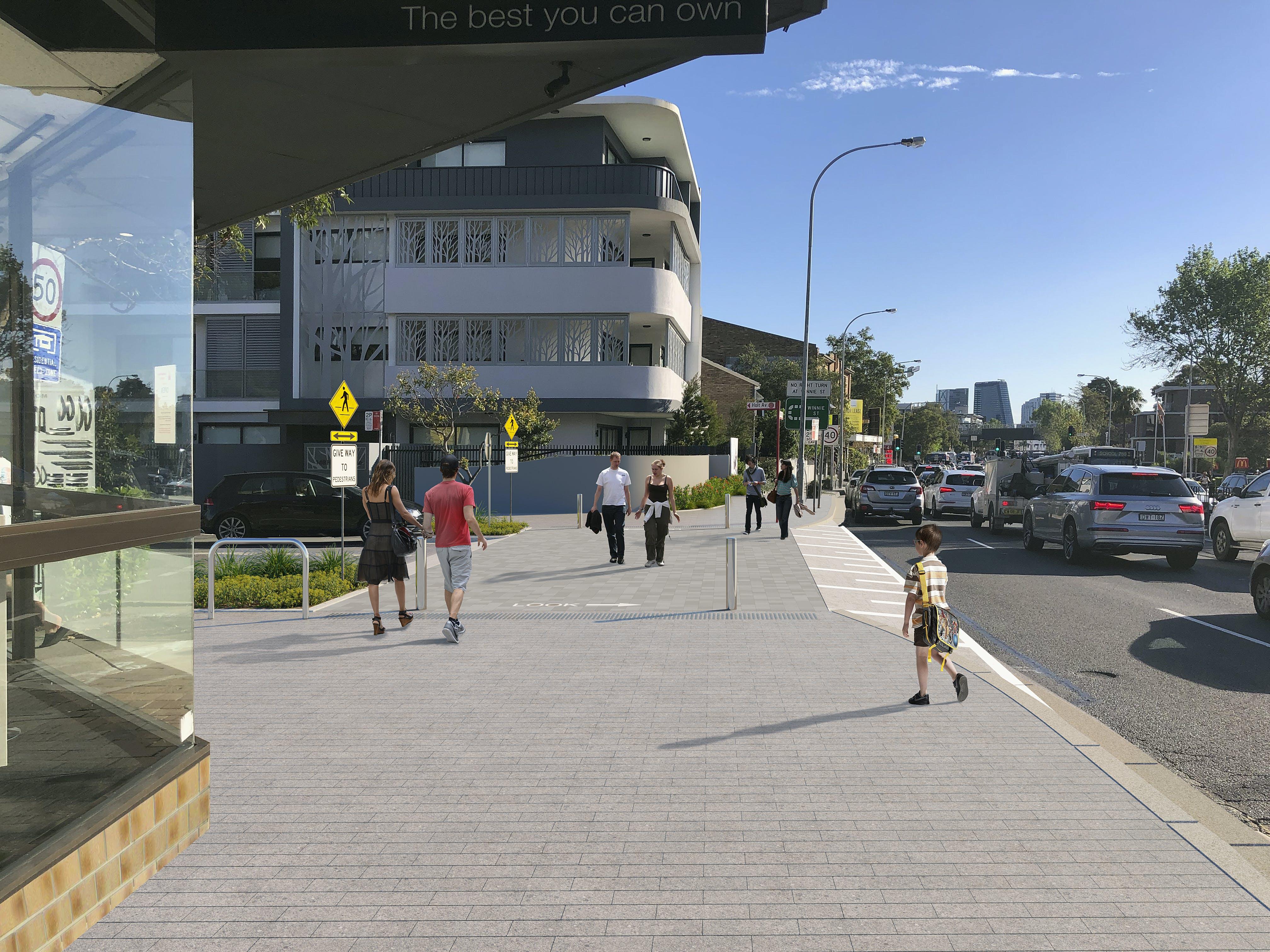 Holt Ave Option A -  Photomontage, Street Level