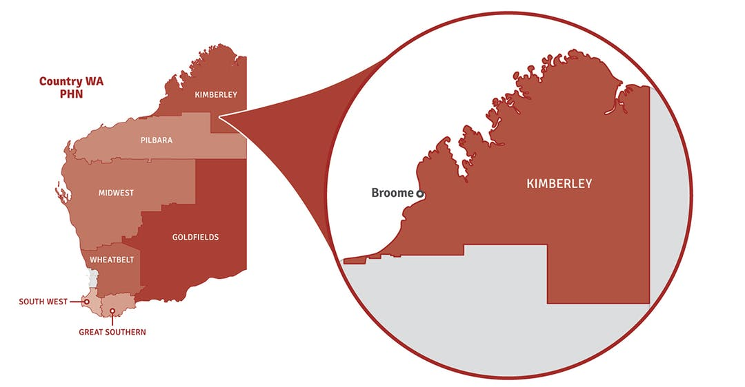 Map of Western Australia showing location of Kimberley region in a pop out circle.