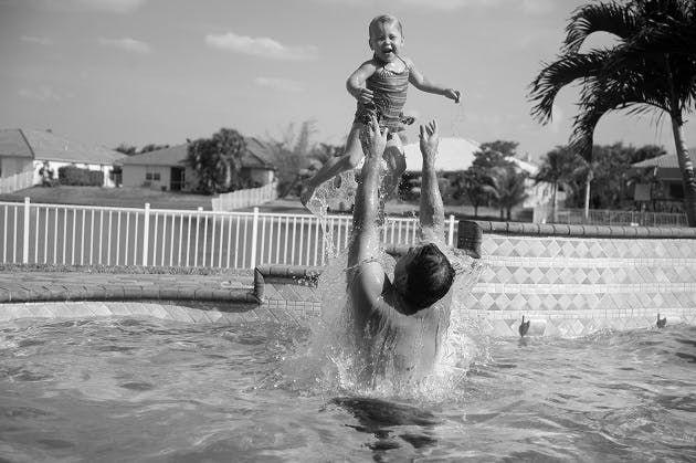 Pool father and daughter bw resized