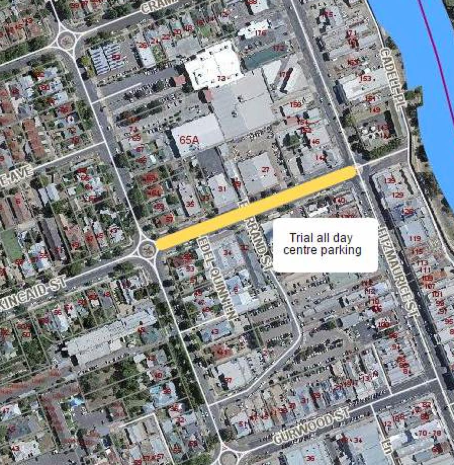 Location of Kincaid Street centre parking trial