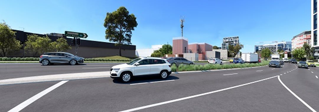 Artist impression of the proposed Mascot substation at 166 O'Riordan Street, Mascot.