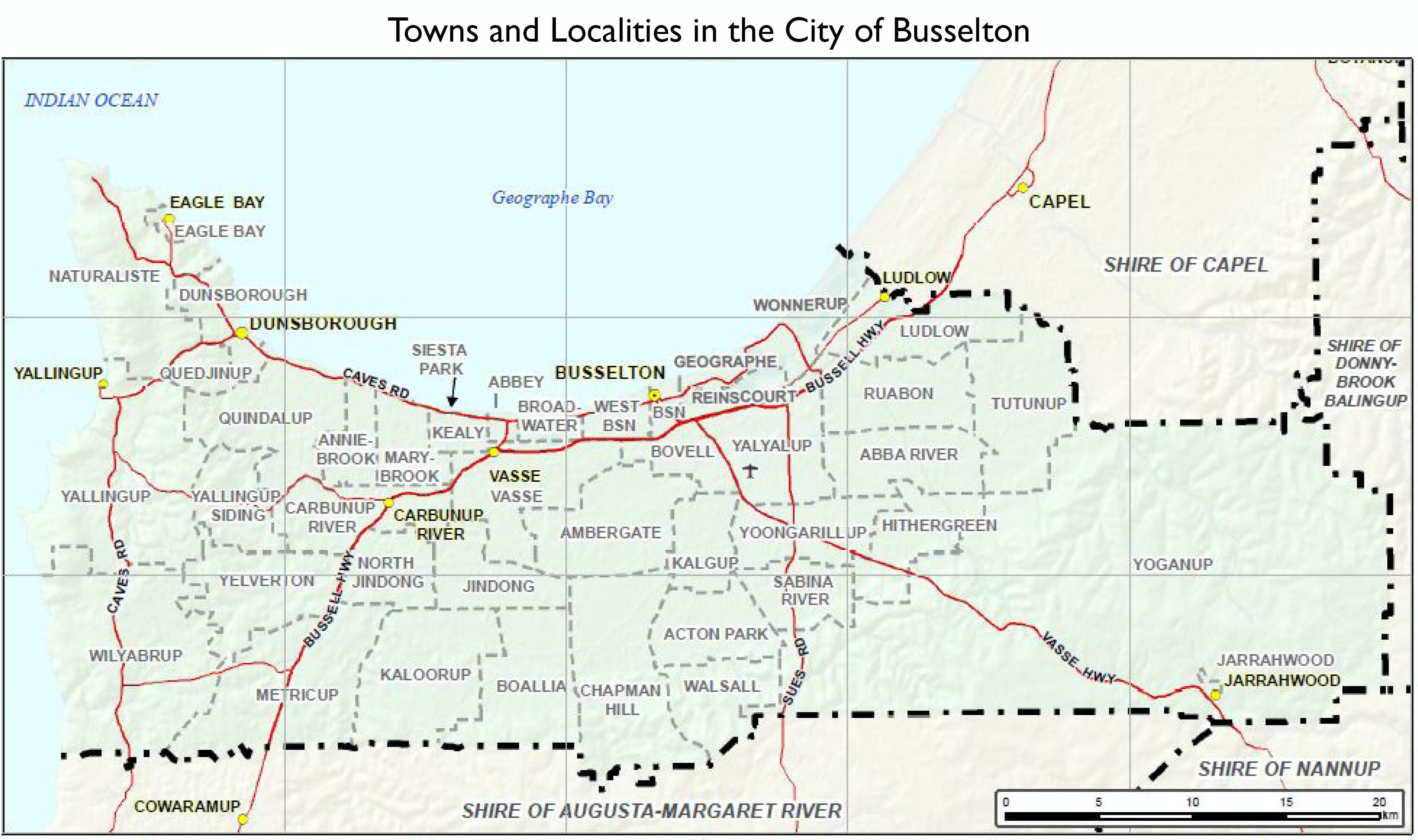 City of Busselton Towns and Localities