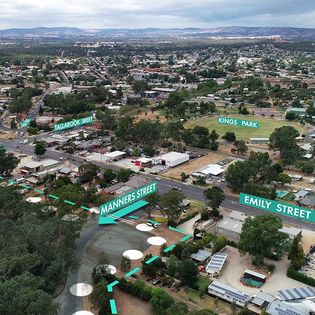 Aerial photo with levee location around Emily and Tallarook Street marked.