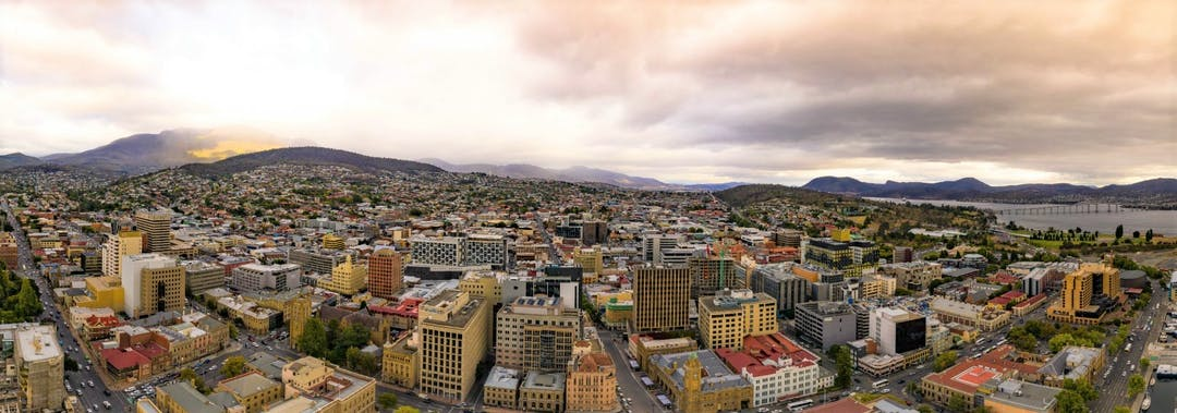 Central Hobart study area from above