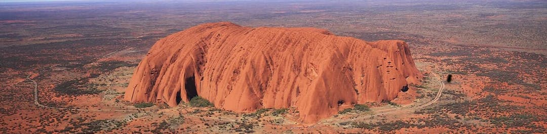 Aerial view of Ayers Rock, Australia.