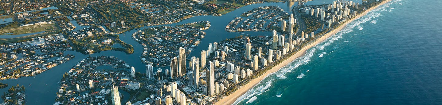 City of Gold Coast skyline and beach