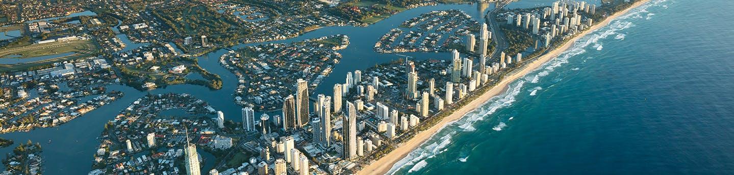 City of Gold Coast skyline and beach