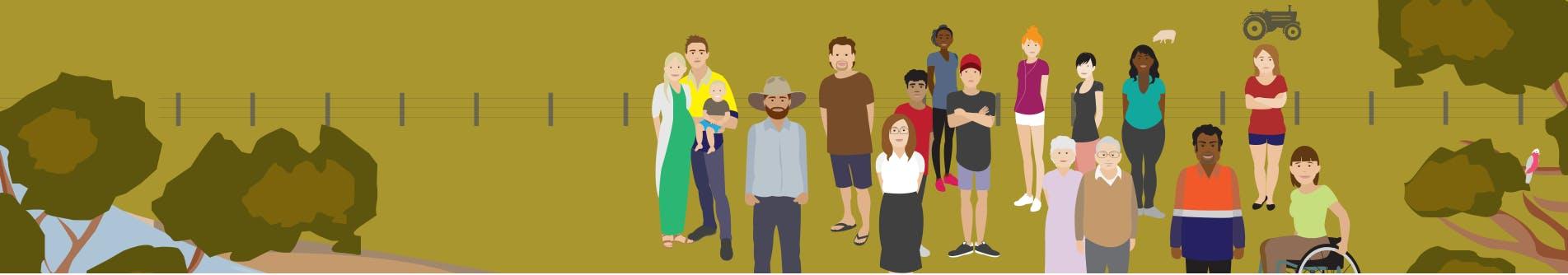 Graphic image of various community members