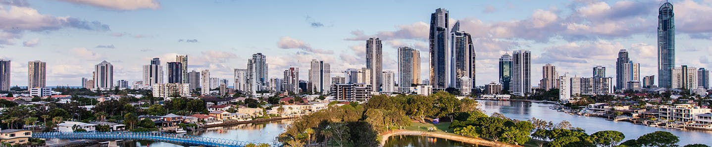 Views of the Surfers Paradise skyline, Nerang River and Evendale lake from the HOTA building