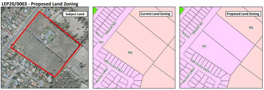 Change to zoning and minimum lot size.