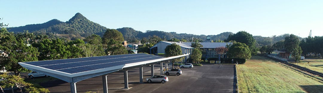 Solar panels council office car park Mullum