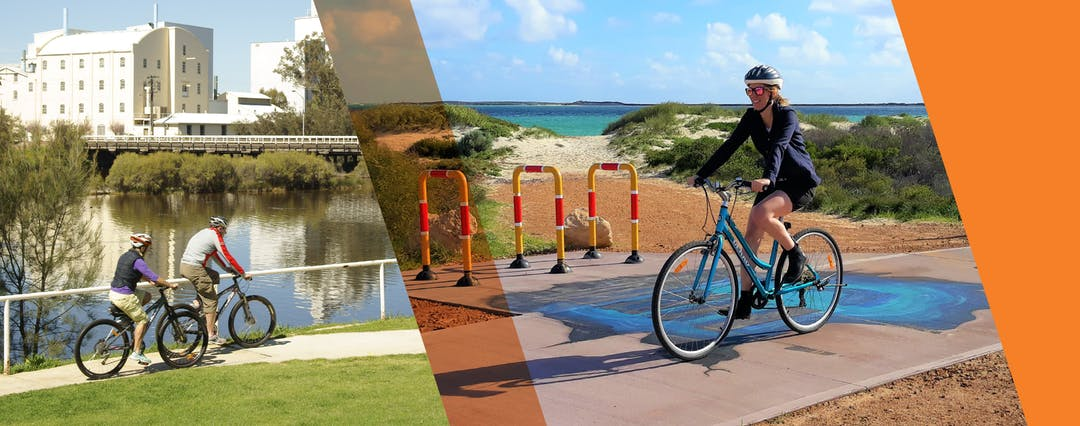 Couple riding along Avon River, Northam (credit: Tourism Western Australia) and girl riding on Turquoise Way Trail, Jurien Bay