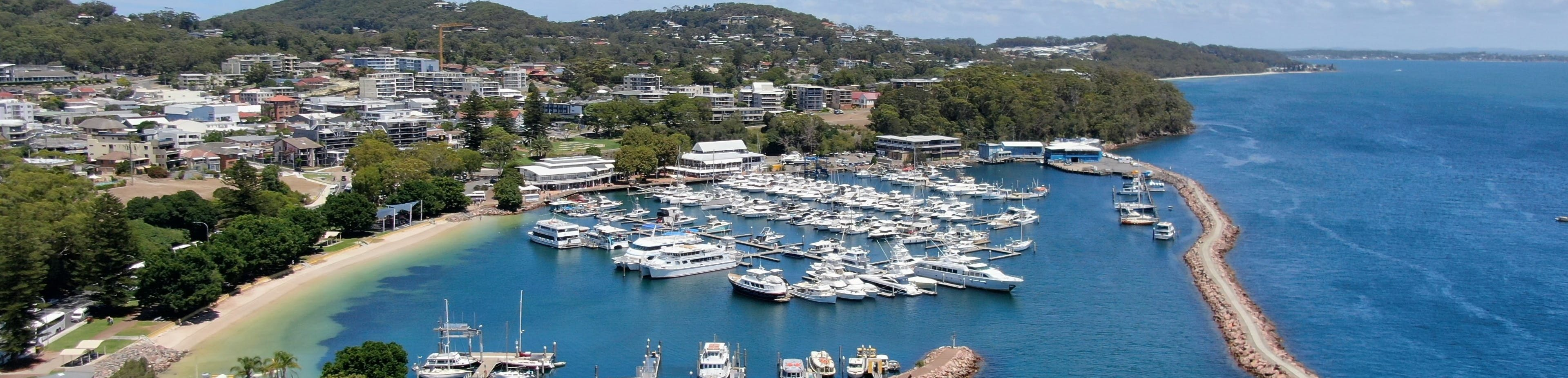 Drone footage of the Nelson Bay Marina
