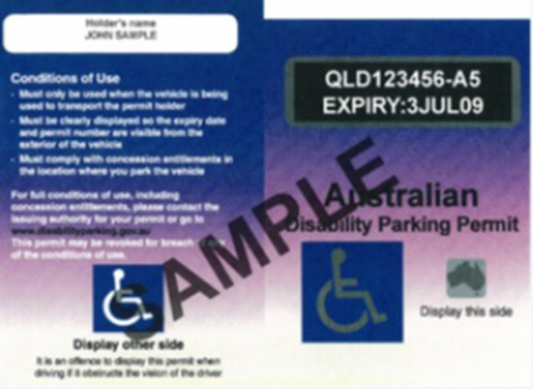 Copy of disability parking permit