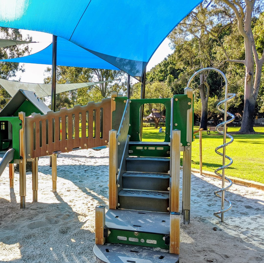 Play equipment in park.