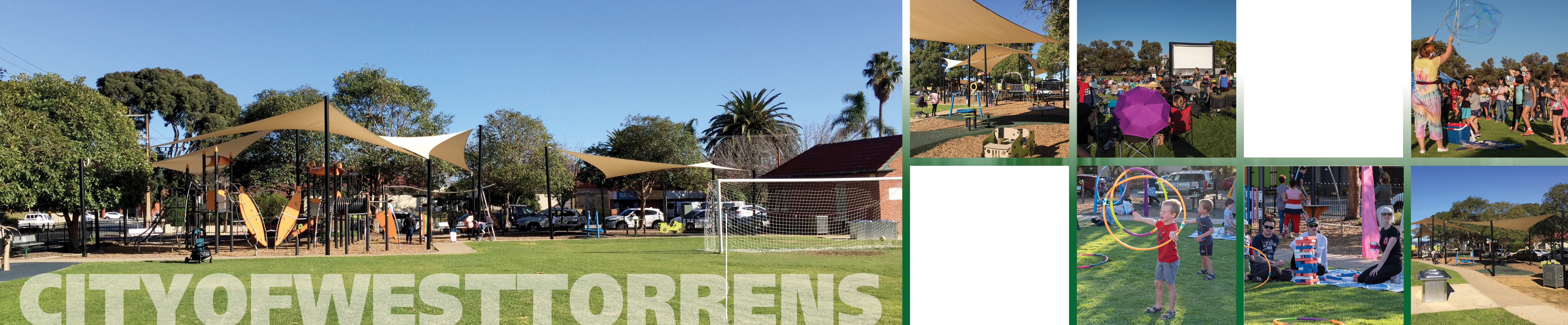 Montage of Kesmond Reserve playground, oval and activities
