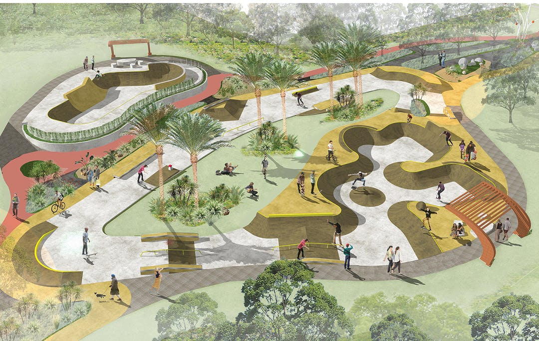 A 3D overview of the concept plan for the Byron Bay Skatepark and Recreation Precinct