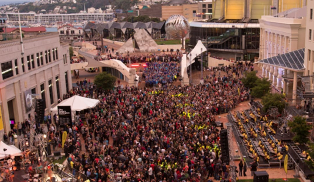 Photo of a public event in the centre of Te Ngākau Civic Precinct looking towards the waterfront