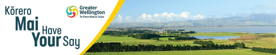 Photo of farmland view with green fields and a lake. The words Korero Mai Have Your Say and Greater Wellington logo feature.