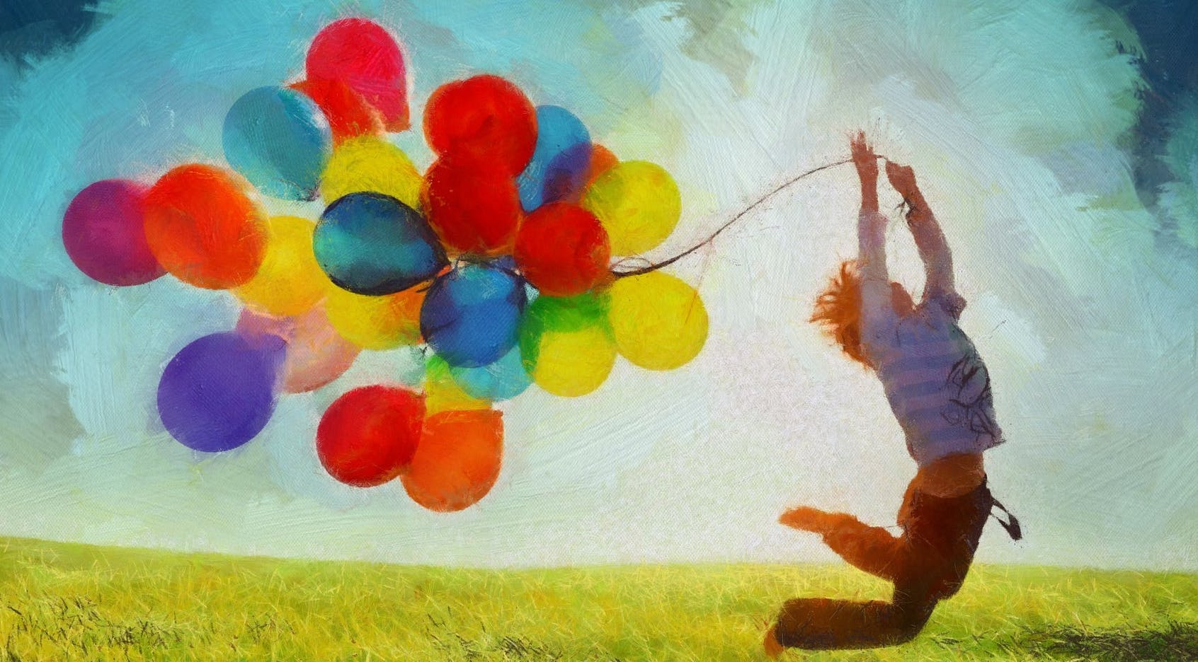 Painting of a child carrying colourful balloons in a field.