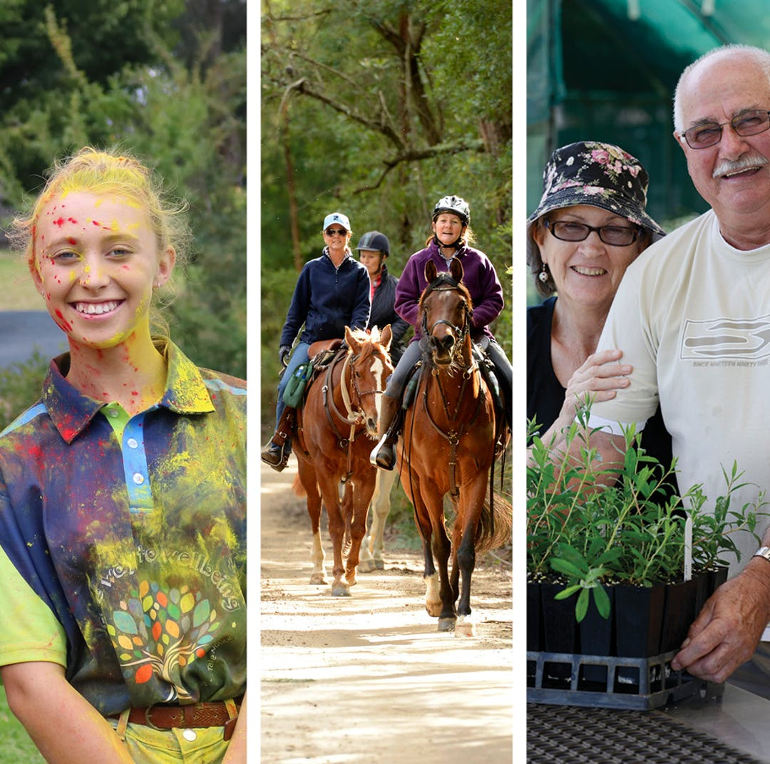 Three separate images - a youth covered in paint, horseriders on horseback, and an older couple with plant seedlings