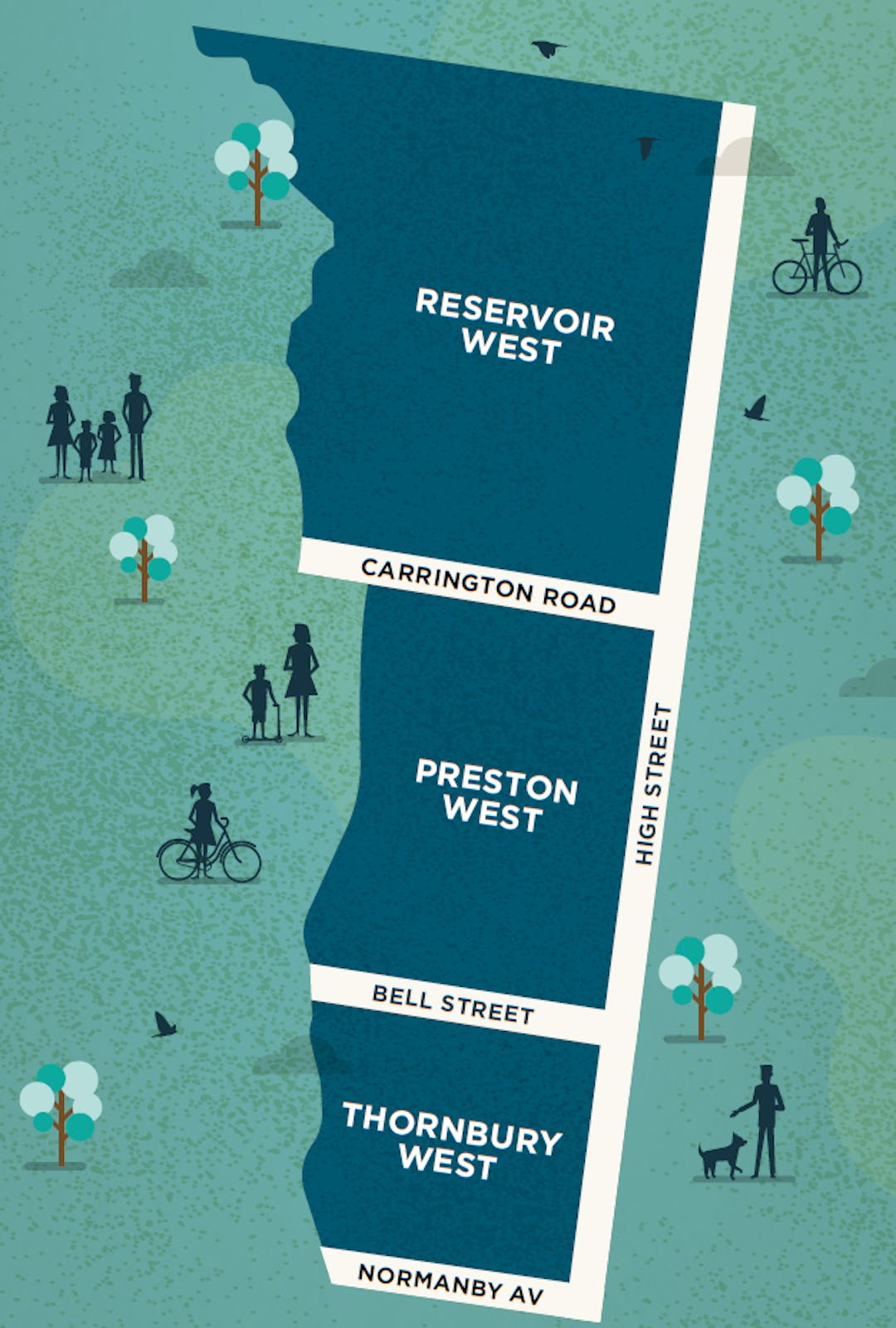 Map of Area A of the Your Street, Your Say project showing Reservoir West, Preston West and Thornbury West