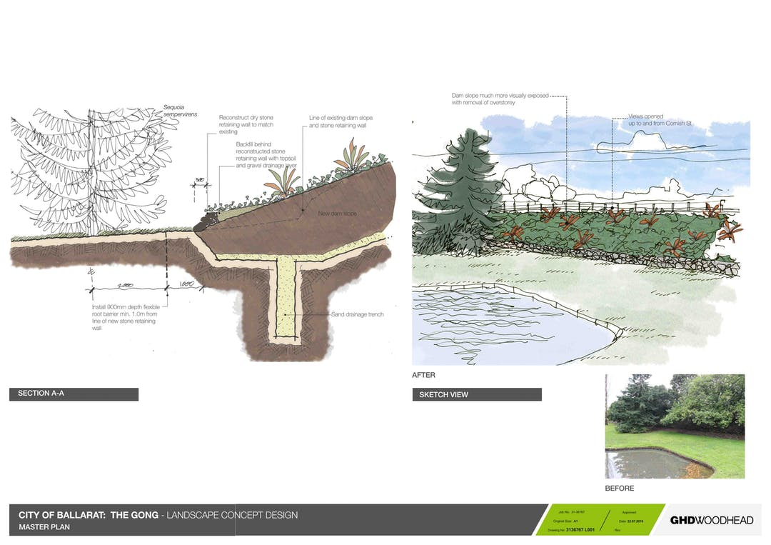 Concept design for the proposed works at The Gong, Buninyong Botanic Gardens