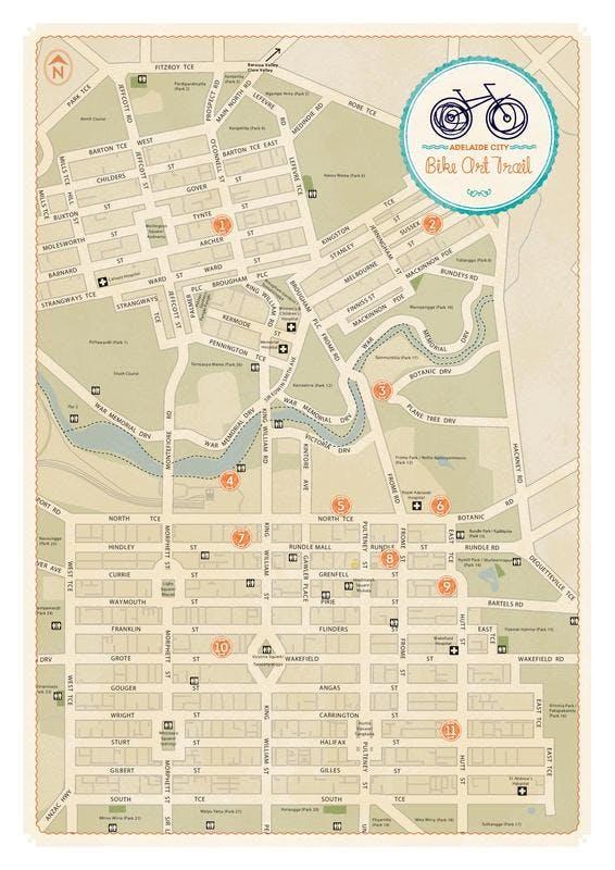 Map of Adelaide Bike Art Trail