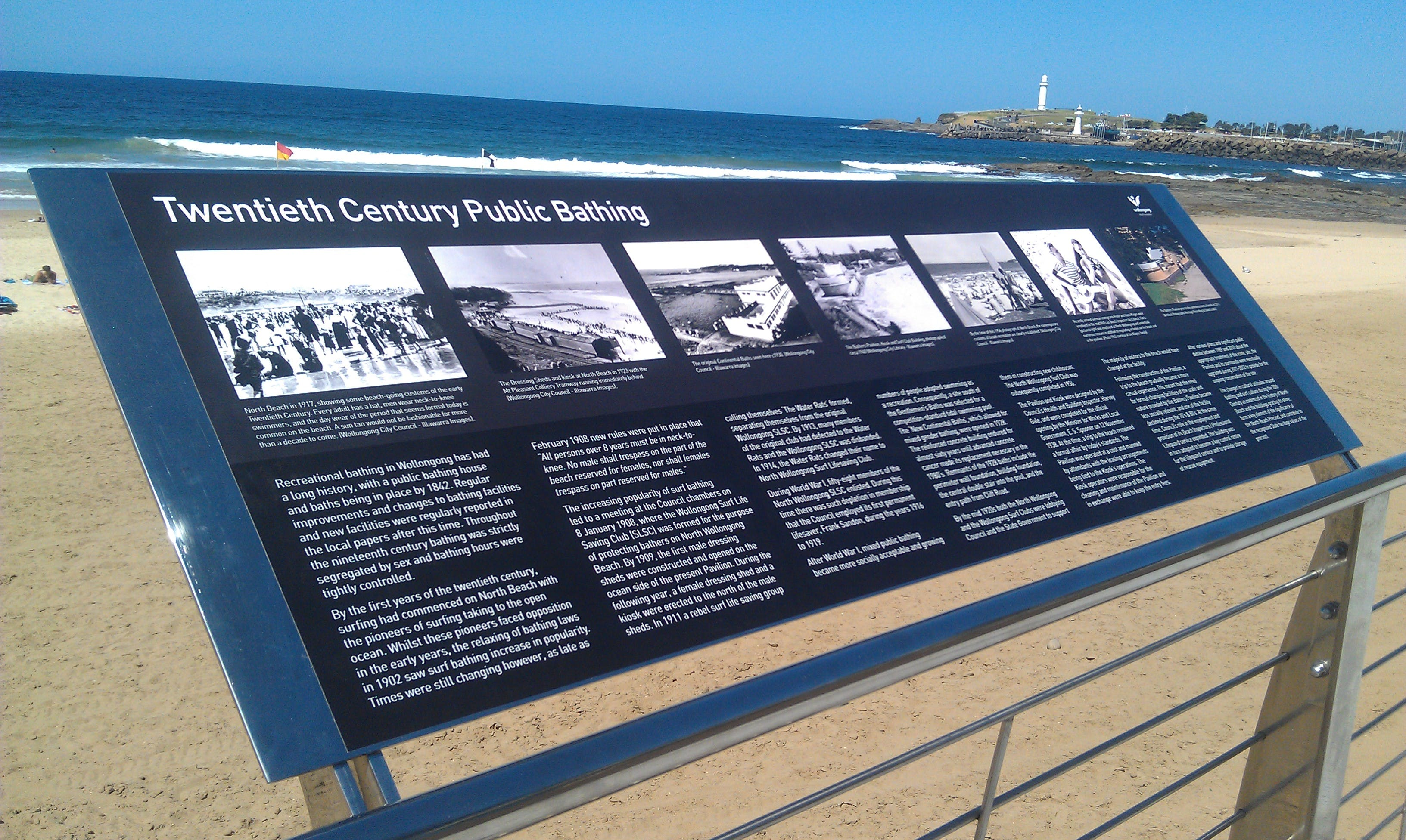 North Beach Bather's Pavilion interpretive signage