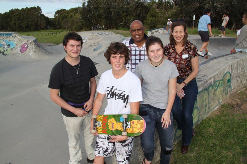 Encouraging youth input to the Strategic Plan - Beachside Church youth representatives Jimmy Fortune (left) and Mary Jayne 'MJ' Edwards (front right) and church pastor Allan Pillay, with skater Tom Flanagan and Council's Youth Development Officer Sylvia R