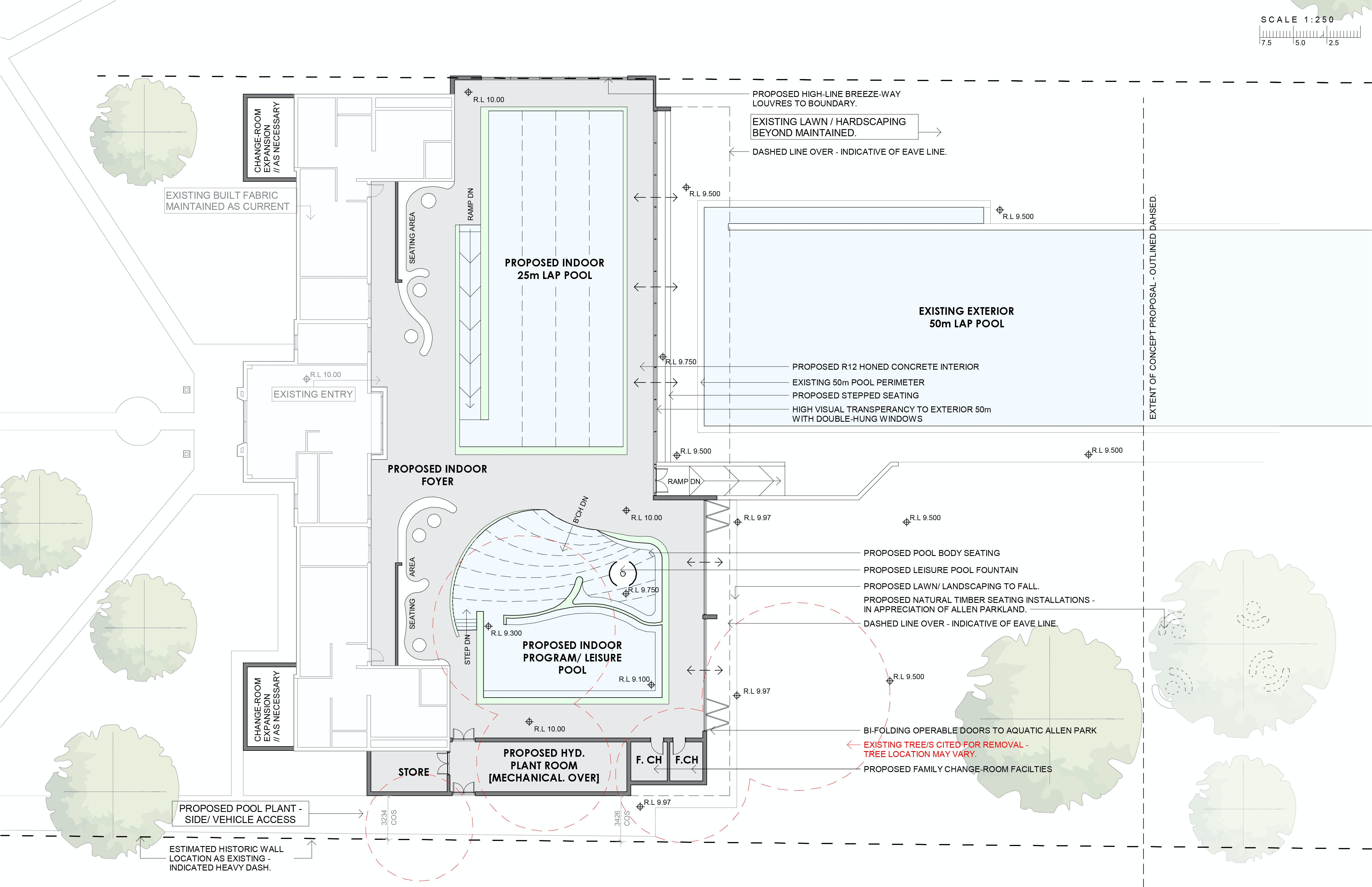 Option Two - New Enclosed Indoor Program/ Leisure Pool with New 25m Lap Pool