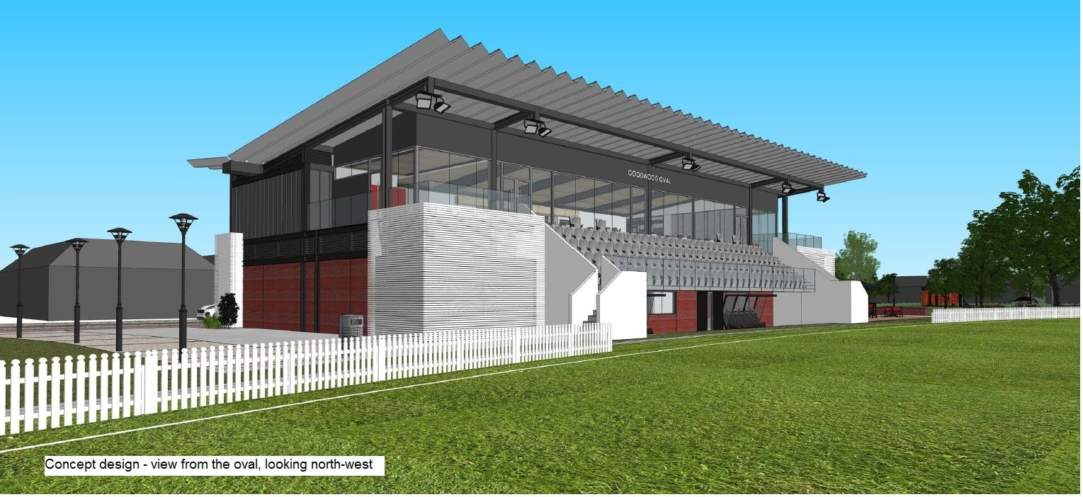 Concept Image of Goodwood Oval Grandstand view from oval NW