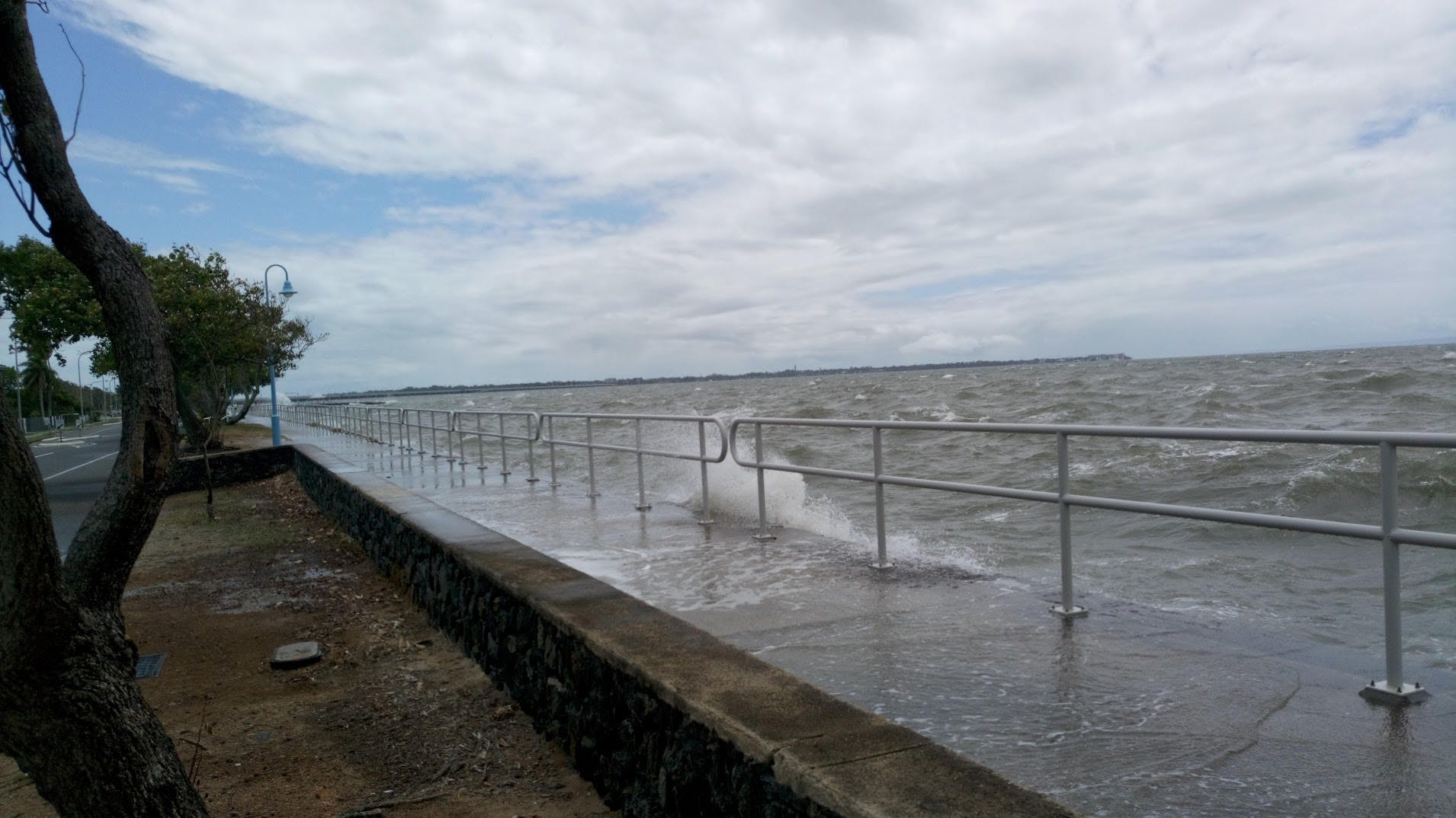 Seawall overtopping at Brighton