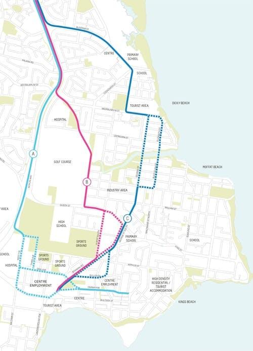 Caloundra route options map