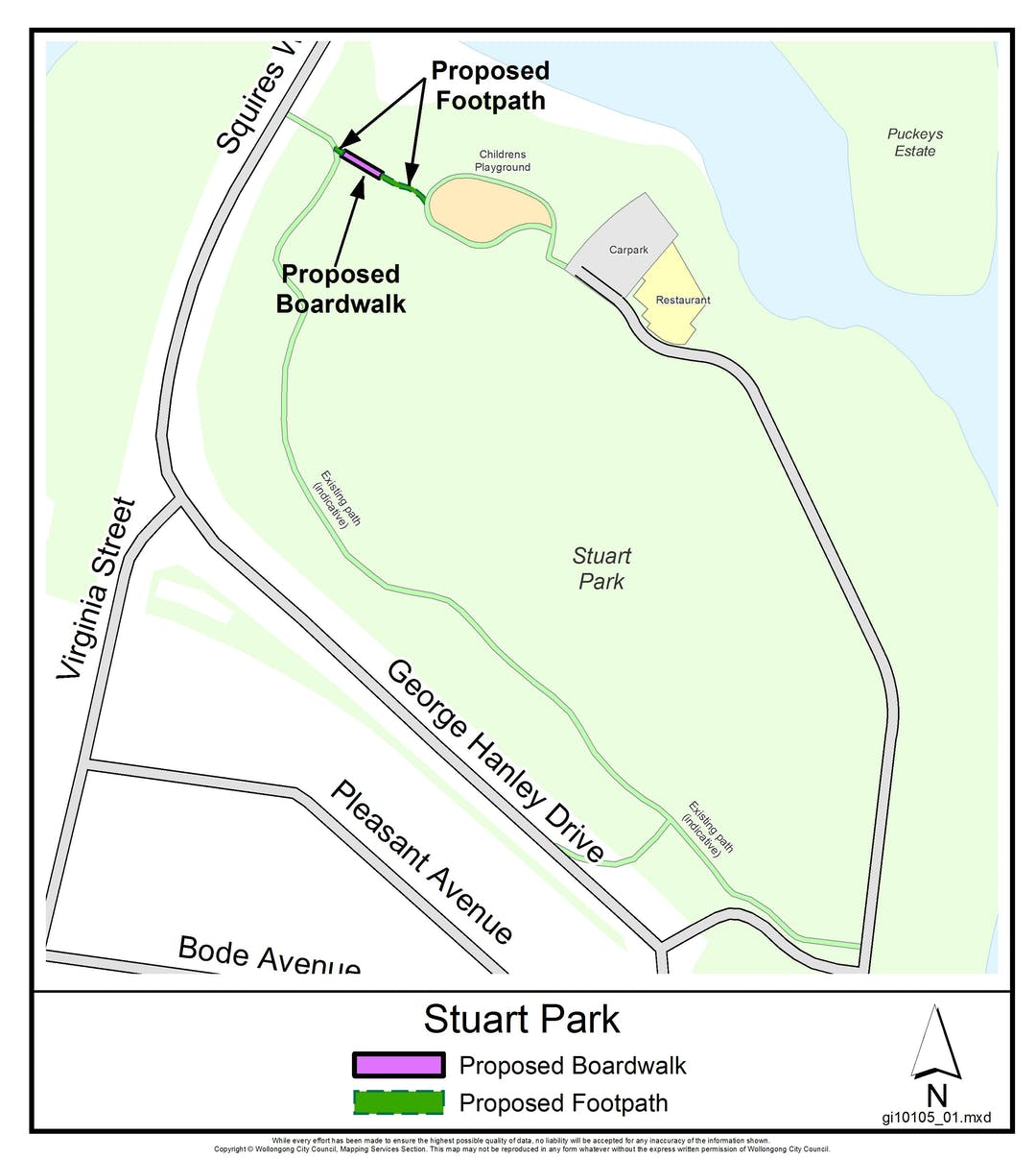 Proposed Stuart Park Elevated Boardwalk and Footpath location
