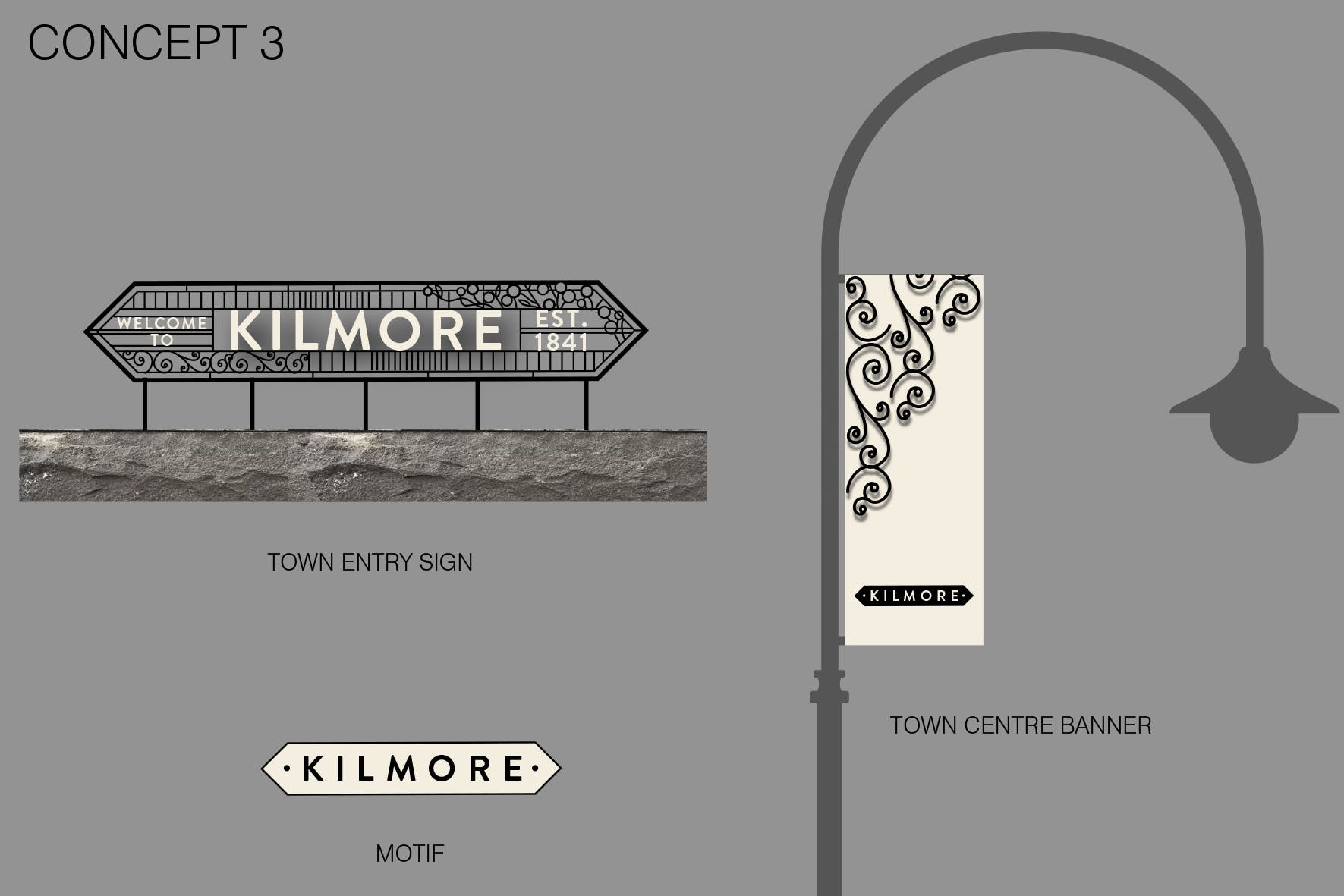 Town entry, motif and banners decorative