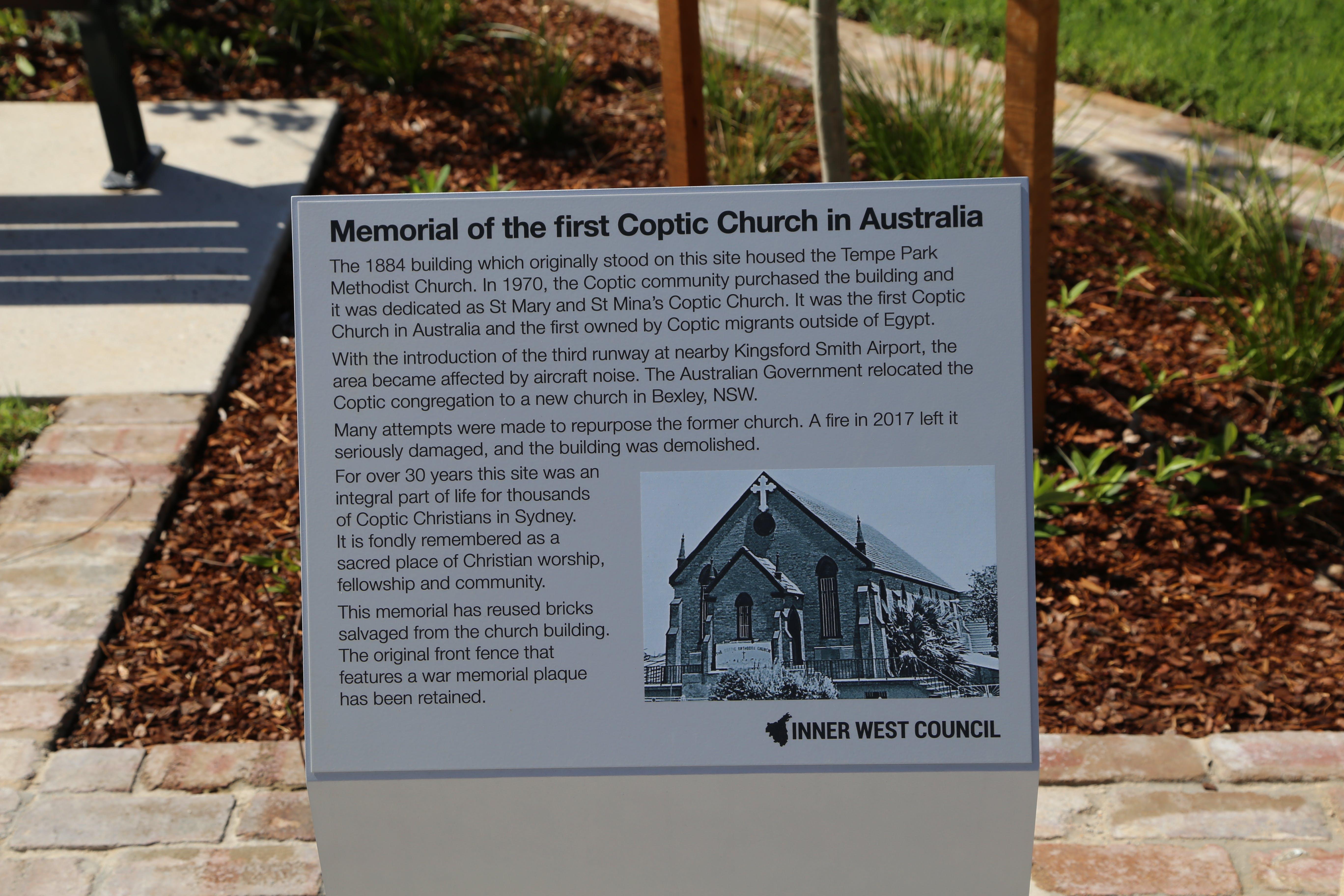 Outdoor memorial plaque to former Coptic Church at Sydenham Green