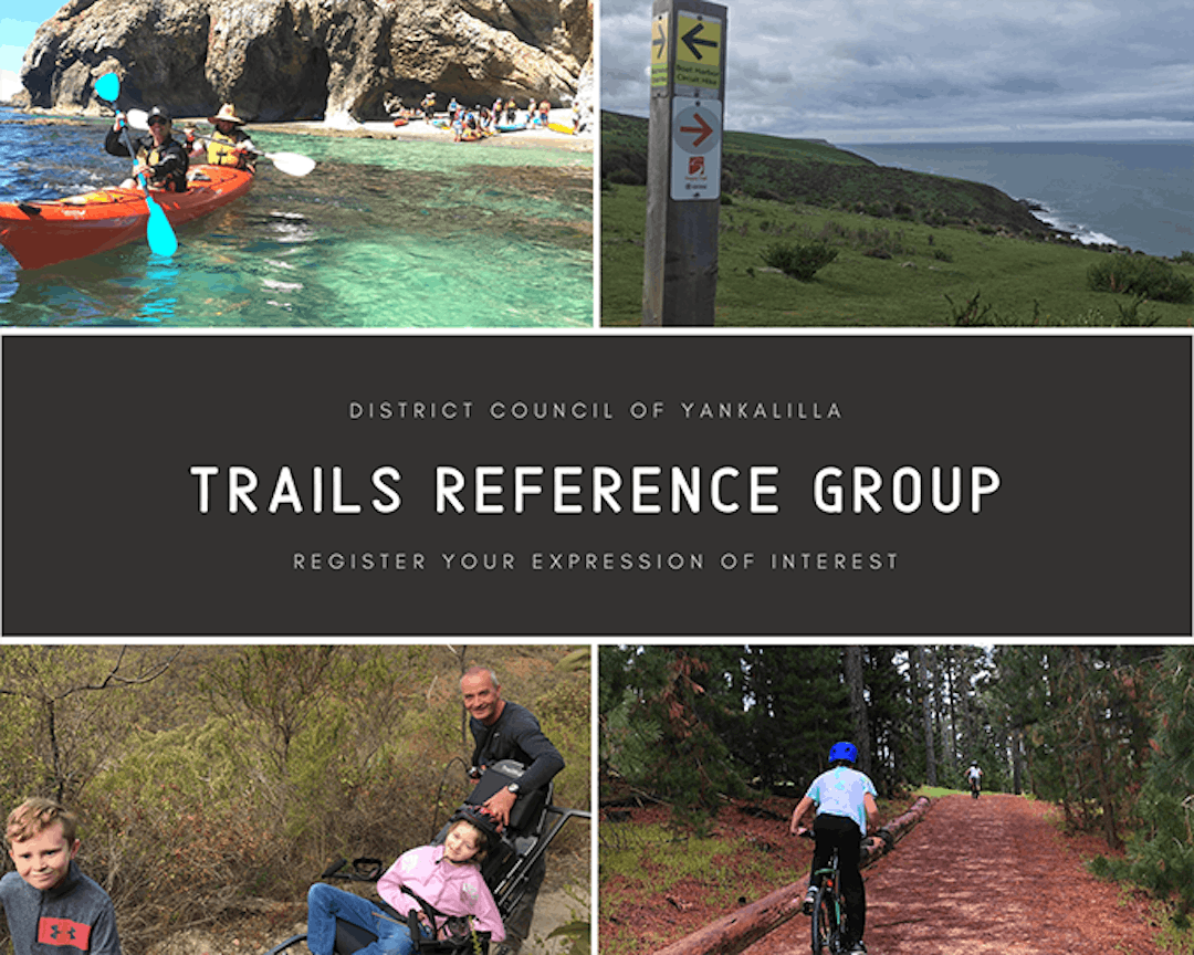 collage of images with people kayaking on clear blue waters, trail marker and green hills, family using the Trailrider all-terrain wheelchair and kids cycling on offroad trails at Myponga