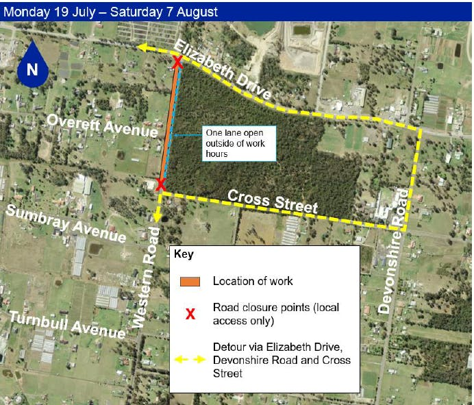 Kemps Creek -  Western Road closures between Cross St and Elizabeth drive from 19 July