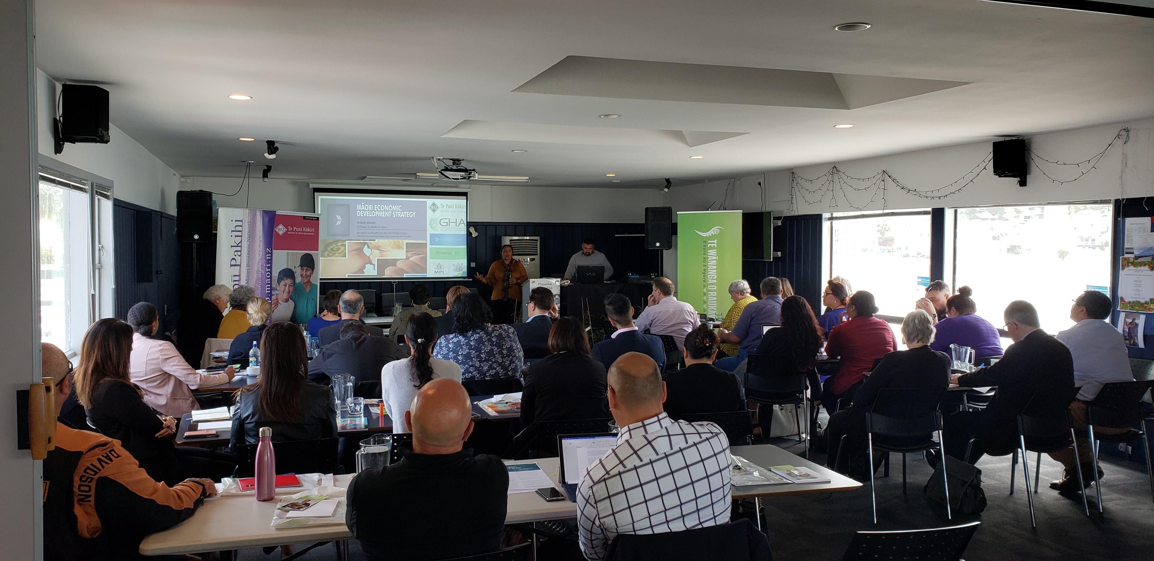 Riri Ellis presenting at Ngā Mahi A Māui