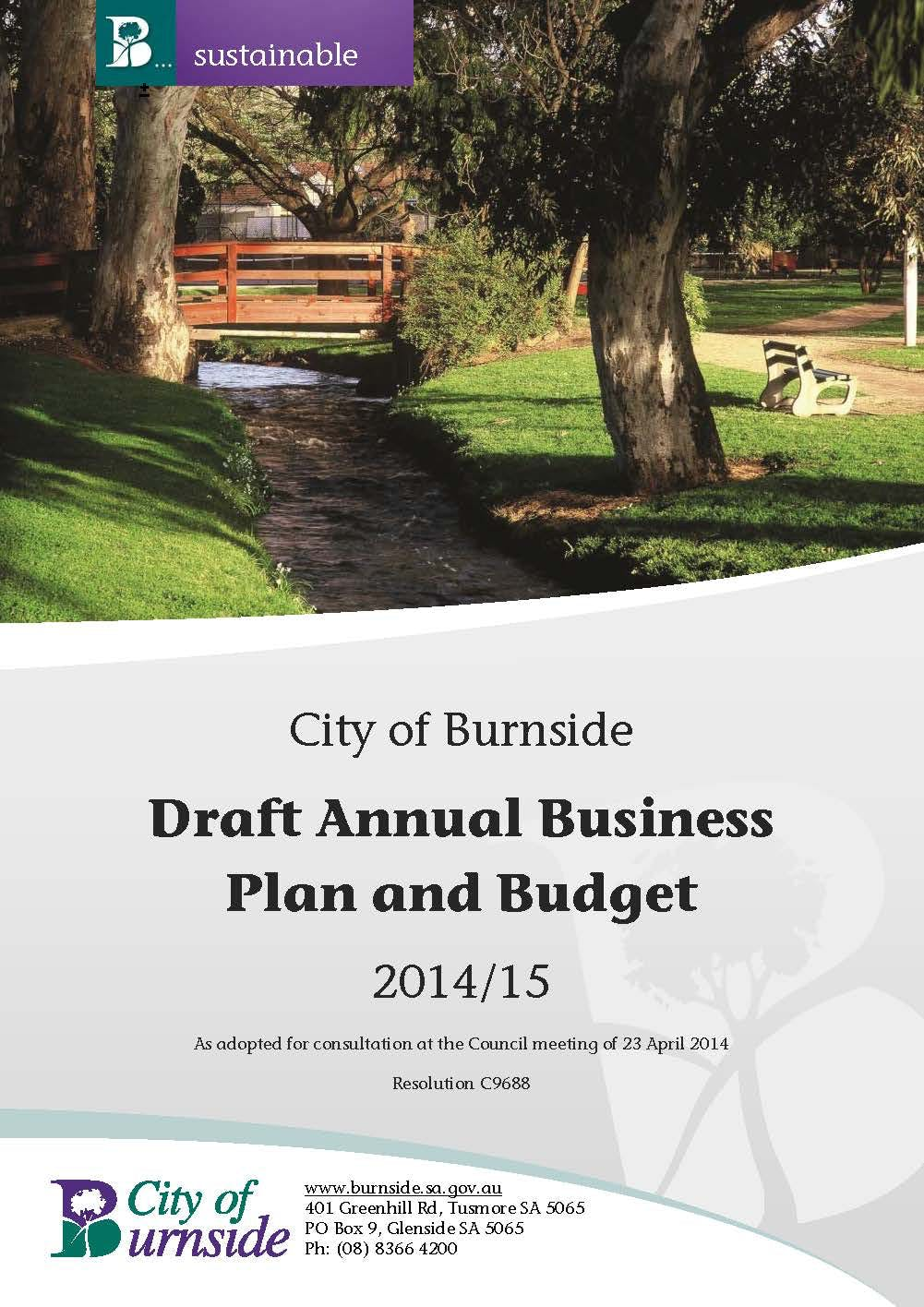 Draft Annual Business Plan Final  2014 15 Draft Annual Business Plan And Budget 230414 Page 01
