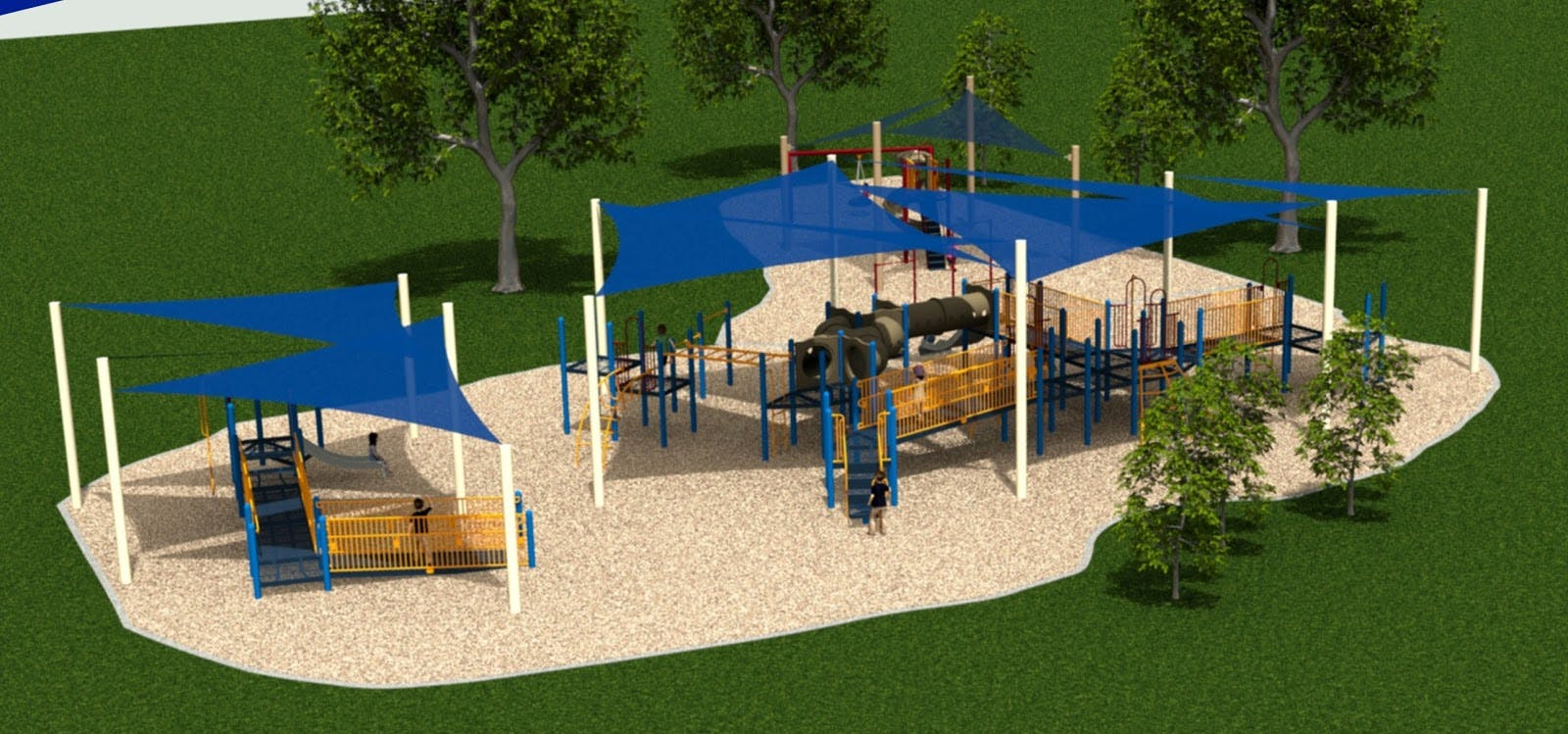 Blue Sail Shade covering playground equipment