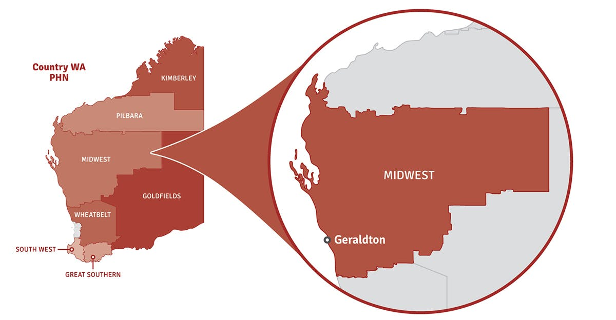 Map of Western Australia showing location of Midwest region in a pop out circle.